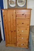 MODERN PINE TALLBOY CABINET WITH FIVE DRAWERS AND A SINGLE DOOR, 87CM X 138CM