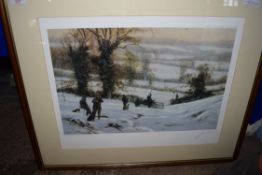 JOHN TRICKETT, COLOURED PRINT, WINTER SHOOTING SCENE, IMAGE SIZE 50 X 34CM, SIGNED IN PENCIL LOWER