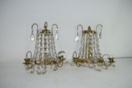 PAIR OF WALL MOUNTED CANDLE HOLDERS WITH GLASS DRAPES