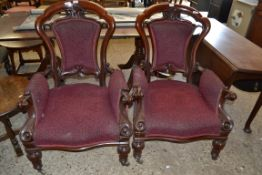 PAIR OF LARGE VICTORIAN MAHOGANY FRAMED ARMCHAIRS, SHAPED BACKS, SCROLLED ARMS, RAISED ON SHORT