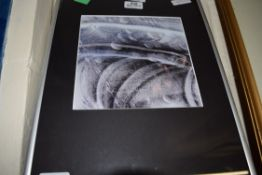 FRAMED ABSTRACT PRINT, APPROX 32CM