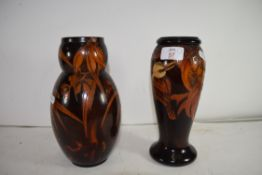 TWO AUSTRALIAN HIELCO WARE VASES DECORATED WITH KOOKABURRAS AND FLOWERS
