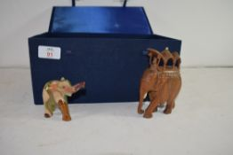 BOX OF VARIOUS WOODEN AND HARDSTONE MODEL ELEPHANTS