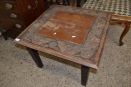 LATE 19TH/EARLY 20TH CENTURY SQUARE COFFEE TABLE DECORATED WITH MYTHOLOGICAL BEASTS, 45CM HIGH X