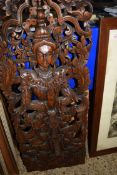 MODERN SOUTH EAST ASIAN CARVED WALL PLAQUE OF A DEITY
