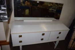 RETRO WHITE MELAMINE MIRROR BACK DRESSING CHEST WITH FOUR DRAWERS