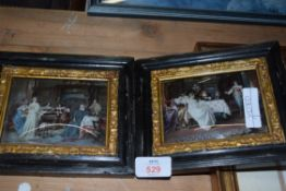 TWO SMALL COLOURED CRYSTOLEUM TYPE PICTURES SHOWING INTERIOR SCENES