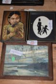 MIXED LOT - SMALL STUDY NATIVE AMERICAN GIRL WITH OTTER, A SILHOUETTE PRINT OF MAN AND BOY AND A