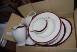 BOX OF ALFRED MEAKIN RED RIMMED DINNER WARES
