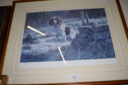 JOHN TRICKETT, LIMITED EDITION COLOURED PRINT, SPANIEL, 226/500, SIGNED IN PENCIL, FRAMED AND