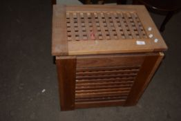 WOODEN LAUNDRY BASKET AND A SMALL SUITCASE