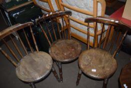 SET OF THREE PENNY SEAT STICK BACK KITCHEN CHAIRS