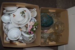 TWO BOXES MIXED MODERN DINNER WARES TO INCLUDE MIDWINTER, GLASS WARES ETC