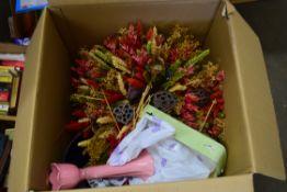 ONE BOX VARIOUS DRIED FLOWERS, BATHROOM MIRROR ETC