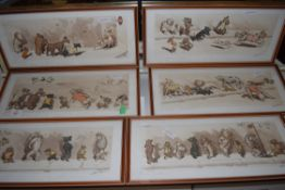SET OF SIX FRENCH COMICAL PRINTS OF DOGS AFTER BORIS O'KLEIN, FRAMED AND GLAZED
