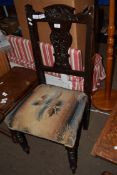 CARVED 19TH CENTURY UPHOLSTERED CHAIR