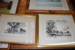 HENRY HOLZER, PAIR OF ETCHINGS, EDGE OF THE MARSH AND ONE OTHER
