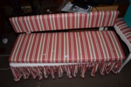 SMALL BENCH WITH STRIPED UPHOLSTERY