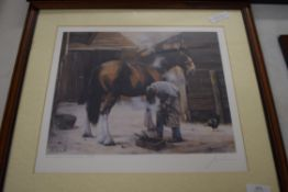 JOHN TRICKETT, SIGNED COLOURED PRINT OF BLACKSMITH SHOEING A HORSE, FRAMED AND GLAZED