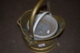 BRASS COAL BUCKET AND A TUB OF NAILS