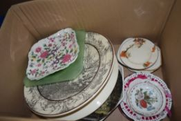 BOX OF MIXED GLASS AND CERAMICS TO INCLUDE LARGE DOULTON AFRICAN SERIES WALL PLATE, ART DECO FROSTED