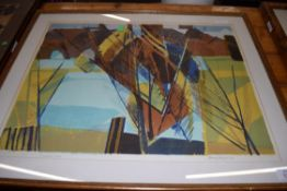 HENRY HOLZER, COLOURED PRINT, OVERLAPPING TREES, SIGNED IN PENCIL DATED 1966, FRAMED AND GLAZED