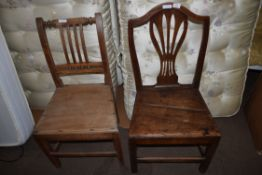 TWO 19TH CENTURY HARD SEAT DINING CHAIRS