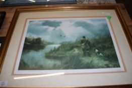 JOHN TRICKETT, LIMITED EDITION PRINT, WILDFOWLING, SIGNED IN PENCIL FRAMED AND GLAZED