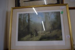 JOHN TRICKETT, LIMITED EDITION PRINT OF SHOOTING SCENE, 781/850, SIGNED IN PENCIL, FRAMED AND