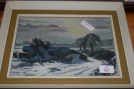 HENRY HOLZER, STUDY OF BARNS IN SNOW DATED 1973, FRAMED AND GLAZED