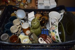 BOX OF MIXED WARES TO INCLUDE HOLKHAM POTTERY MUGS, VARIOUS OWL MONEY BOXES, BESWICK GLENEAGLES