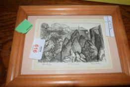 HENRY HOLZER, SMALL MONOCHROME PRINT, TWO BIRDS, FRAMED AND GLAZED
