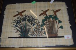 EGYPTIAN PAPYRUS PRINT OF BIRDS AND FOLIAGE
