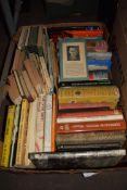 ONE BOX MIXED BOOKS TO INCLUDE VARIOUS HARDBACKS, PENGUIN BOOKS ETC