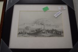 AFTER W H BARTLETT, FRAMED PRINT, PETRO VARADIN, HISTORIC TOWN IN SERBIA