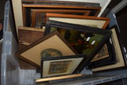 ONE BOX CONTAINING VARIOUS WATERCOLOURS, FRAMED PRINTS, OIL ON BOARD STUDY OF A BLACKSMITH ETC