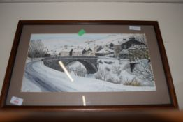 WATERCOLOUR STUDY, MUKER IN WINTER, UNSIGNED, FRAMED AND GLAZED