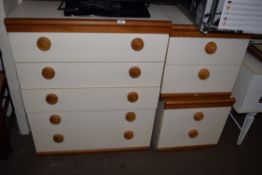 WHITE MELAMINE FINISH FIVE DRAWER CHEST AND MATCHING PAIR OF BEDSIDE CABINETS (3)