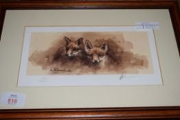 MICK CAWSTON, COLOURED PRINT, TWO FOX CUBS, SIGNED IN PENCIL, 75/300, FRAMED AND GLAZED