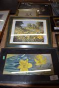 W CALDER, WATERCOLOUR STUDY OF DAFFODILS, TOGETHER WITH A FURTHER LIMITED EDITION PRINT, MEADOW