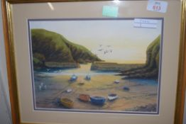 M KERSHAW, WATERCOLOUR STUDY, COVE WITH FISHING BOATS, FRAMED AND GLAZED