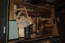 ONE BOX VARIOUS LEATHER BOUND BOOKS ETC