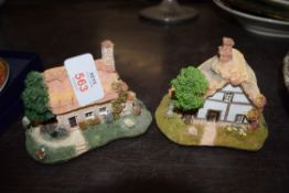 ROYAL COMMEMORATIVE BEAKER AND TWO COTTAGE MODELS