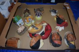 BOX OF MIXED ITEMS - BOSSONS WALL PLAQUES, VARIOUS POTTERY COTTAGES, MONEY BOX ETC