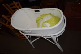 VINTAGE WHITE PAINTED WICKER BABY'S COT
