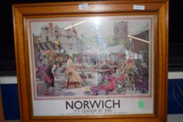 REPRODUCTION LNER RAILWAY PRINT, NORWICH, FRAMED AND GLAZED