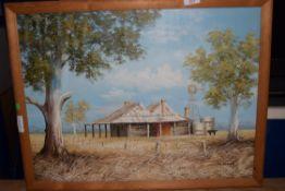 M BROWN, MODERN OIL ON CANVAS, AUSTRALIAN OUTBACK, FARMHOUSE