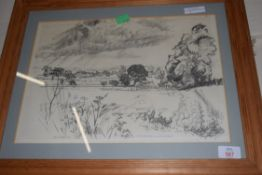 HENRY HOLZER, CHARCOAL DRAWING, LOWER THURLTON FROM THE LONG ROAD