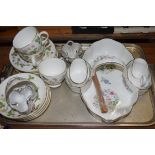 QTY OF WEDGWOOD WILD STRAWBERRY PATTERN TEA CUPS AND SAUCERS, TOGETHER WITH AN AYNSLEY WILD TUDOR