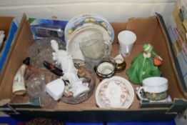 """BOX MIXED CERAMICS TO INCLUDE COALPORT LADIES OF FASHION FIGURINE """"HELEN"""", GLASS WARES, BOWLS, PYREX"""